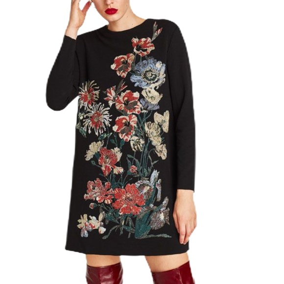 ZARA BLACK AND RUBBERIZED FLORAL DRESS SZ XL